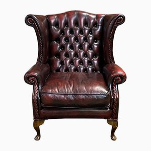 Chesterfield Red Leather Wingback Chair, 1980s