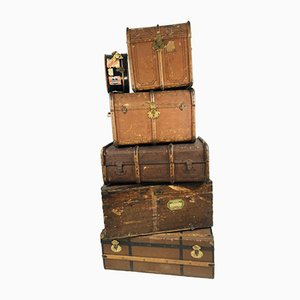 Antique Decorative Wood and Canvas Trunks, 1920s, Set of 6