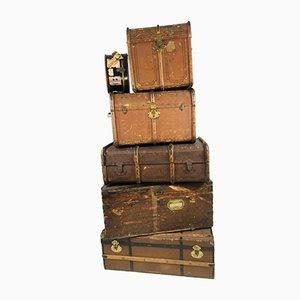 Baúles decorativos antiguos de madera y lona, años 20. Juego de 6