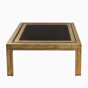 Square Italian Brass and Glass Low Table, 1970s
