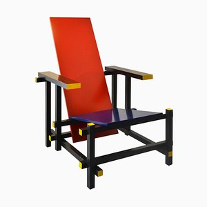 Model 635 Red & Blue Lounge Chair by Gerrit Rietveld for Cassina, 1973