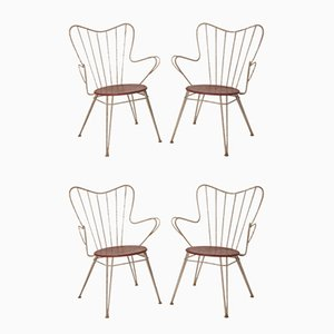 Spanish White and Red Garden Chairs, 1950s, Set of 4