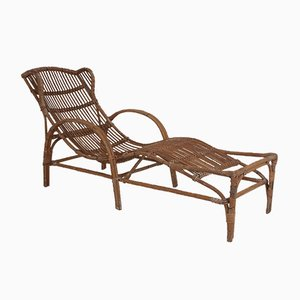 Mid-Century Bamboo and Rattan Chaise Lounge