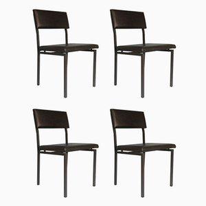 Vintage Dutch Skai Leather Dining Chairs by Gijs van der Sluis, 1970s, Set of 4