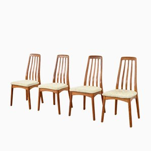 Mid-Century Scandinavian Teak and Wool Dining Chairs, 1960s, Set of 4