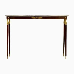 Mid-Century Italian Rosewood, Marble and Brass Console Table, 1950s