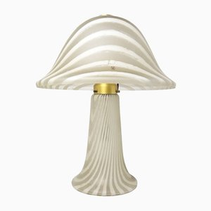 Large Striped Glass Mushroom Table Lamp from Peill & Putzler, 1970s