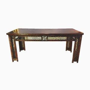 Antiker Bambus & Elmwood Konsolentisch aus der Qing Dynastie