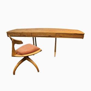 Bureau et Chaise Sculpturaux par Wendell Castle, 1970, Set de 2