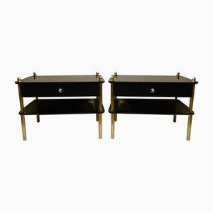 Nachttische aus Verspiegeltem Rauchglas und Messing von Huwa Spiegel, 1960er, 2er Set