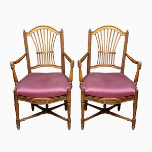 Directoire Walnut & Silk Tapestry Lounge Chairs, Set of 2