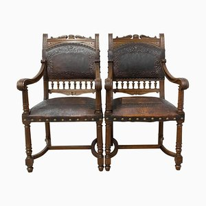 Louis XIII Style Armchairs, Late 19th Century, Set of 2