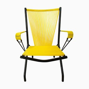 Mid-Century Armchair Yellow Metal Tubular Armchair