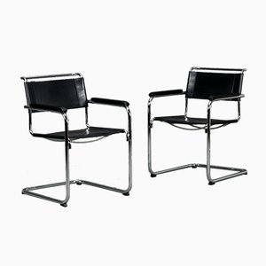 Modern Black Leather S34 Chair by Black Mart Stam for Thonet