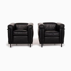 Le Corbusier LC 2 Leather Armchairs from Cassina, Set of 2