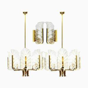 Brass Leaves Light Fixtures by Fagerlund for Orrefors, Sweden, 1960s, Set of 4