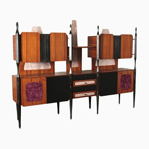 Veneered Wood, Ebony Stained Wood, Brass & Fabric Cupboard, Italy, 1960s