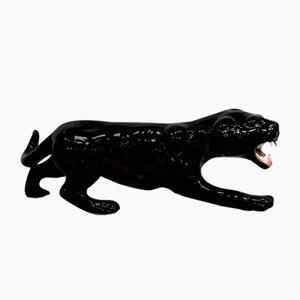 Italienische Vintage Black Panther Statue aus Keramik