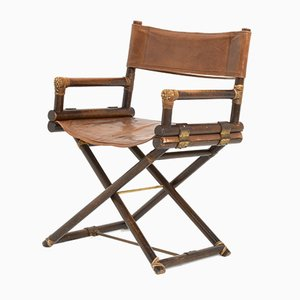Leather and Brass Director's Chair from Mcguire