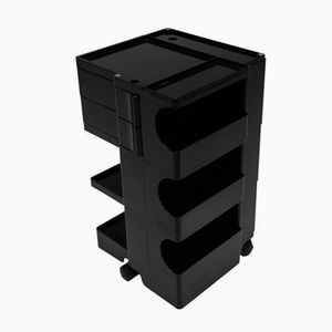 Boby Black Plastic Storage Cart by Joe Colombo