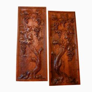Geschnitzte Jugendstil Holztafeln, 2er Set