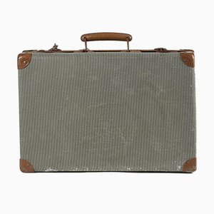 Green Checkered Hardboard Suitcase, Italy, 1950s