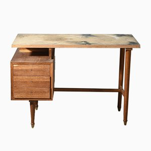 Italian Small Desk in Walnut and Plywood, 1950s