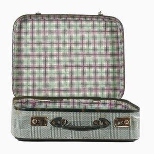 Vintage Koffer aus grünem kariertem Karton, Italien, 1950er