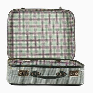 Vintage Suitcase in Green Checkered Rigid Cardboard, Italy, 1950s