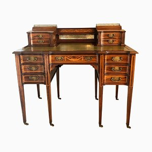 Antique Victorian Freestanding Inlaid Writing Desk from Maple & Co.