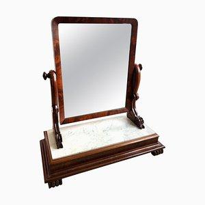 Großer antiker viktorianischer Swing Spiegel mit Mahagoni und Marmorplatte