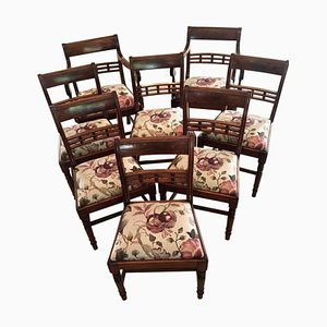 Antique George III Mahogany Dining Chairs, Set of 8