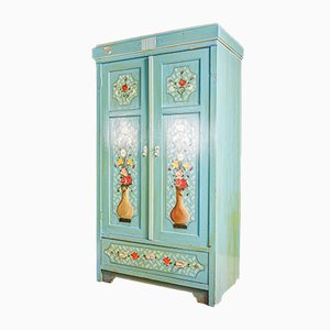 Blue Hand Painted Wardrobe with Flowers, 1920s