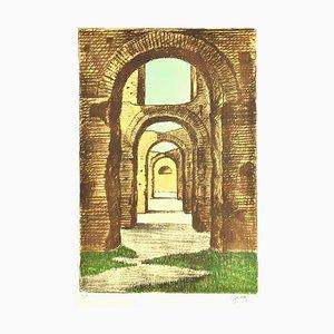 Fabio Failla - Baths of Caracalla - Original Lithograph by Fabio Failla - 1980s