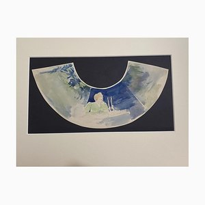 Karl Hanny - Design para A Fan - Acuarela original de Karl Hanny - Mid-20th Century