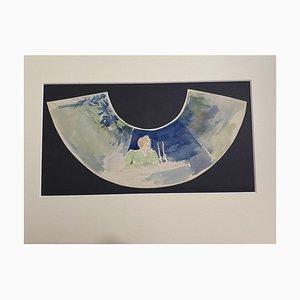 Karl Hanny - Design pour A Fan - Aquarelle Originale par Karl Hanny - Mid-20th Century