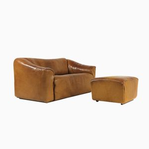 DS 47 Two Seater Buffalo Leather Sofa with Footstool from De Sede, 1970s