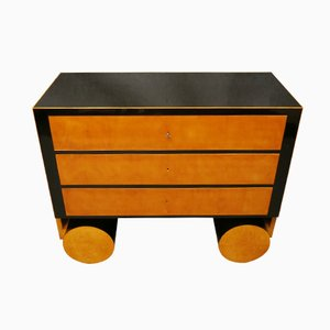 1940s Maple and Ebonized Wood Art Deco Austrian Chests of Drawers