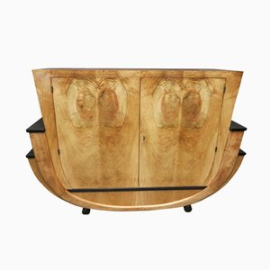 Geschwungenes Italienisches Art Déco Sideboard aus Walnussholz