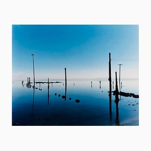 Marina, Bombay Beach, Salton Sea, California - Blue Waterscape Color Photography 2003