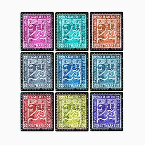 Stamp Collection, 1864 Hamburg, Multi-Color Mosaic German Stamps, Color Photo, 2016