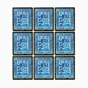 Colección de sellos, 1864 Hamburg, sellos alemanes de mosaico azul, fotografía en color, 2016