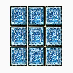 Stamp Collection, 1864 Hamburg, Blue Mosaic German Stamps, Color Photo, 2016