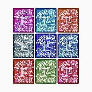 Briefmarkensammlung, Löwe von Flandern (mehrfarbige Mosaik Brüsseler Briefmarken) 2016