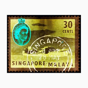 Singapur Briefmarkensammlung, 30 Cents Qeii Öltanker Khaki - Pop Art Color Photo 2018