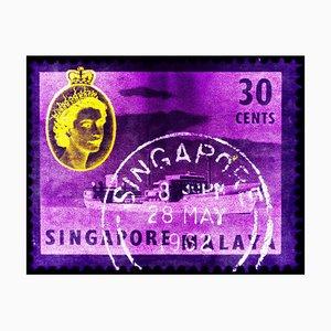 Singapur Briefmarkensammlung, 30c Qeii Öltanker in Lila - Pop Art Color Photo 2018