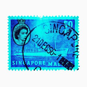 Singapur Briefmarkensammlung, 50c Qeii Dampfschiff Cyan - Pop Art Color Photo 2018
