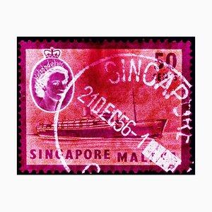 Singapur Briefmarkensammlung, 50er Qeii Dampfer Schiff Pink - Pop Art Color Photo 2018