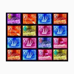 Singapore Briefmarkensammlung, Singapore Ship Sequence (4x4) - Pop Art Farbfoto 2018