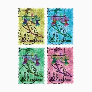 Natasha Heidler & Richard Heeps, Collection de timbres de Singapour, orchidée de Singapour 30c, mosaïque à quatre couleurs, 2018